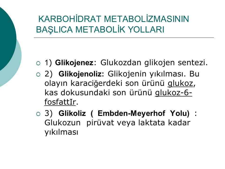 KARBOHİDRAT METABOLİZMASININ BAŞLICA METABOLİK YOLLARI  1 ) Glikojenez : Glukozdan glikojen sentezi.  2) Glikojenoliz: Glikojenin yıkılması. Bu olay