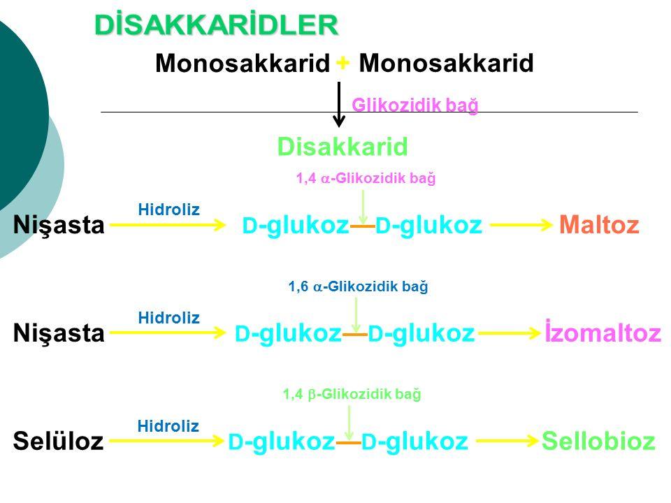 Monosakkarid + Disakkarid Glikozidik bağ D -glukoz MaltozNişasta Hidroliz 1,4  -Glikozidik bağ D -glukoz SellobiozSelüloz Hidroliz 1,4  -Glikozidik