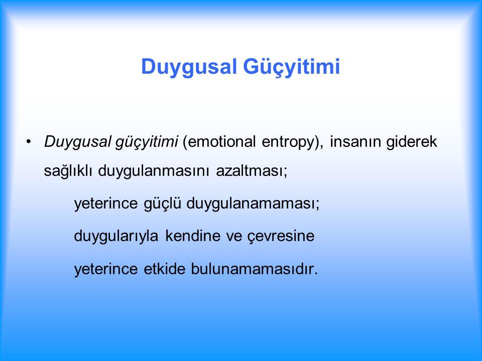 Duygusal Güçyitimi Duygusal güçyitimi (emotional entropy), insanın giderek sağlıklı duygulanmasını azaltması; yeterince güçlü duygulanamaması; duygula