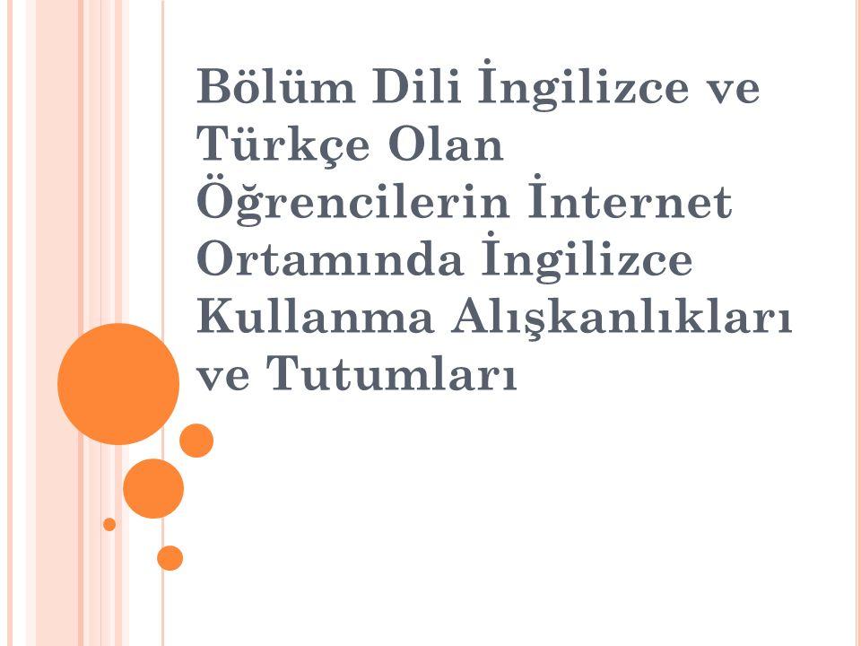 Bölüm Dili İngilizce ve Türkçe Olan Öğrencilerin İnternet Ortamında İngilizce Kullanma Alışkanlıkları ve Tutumları