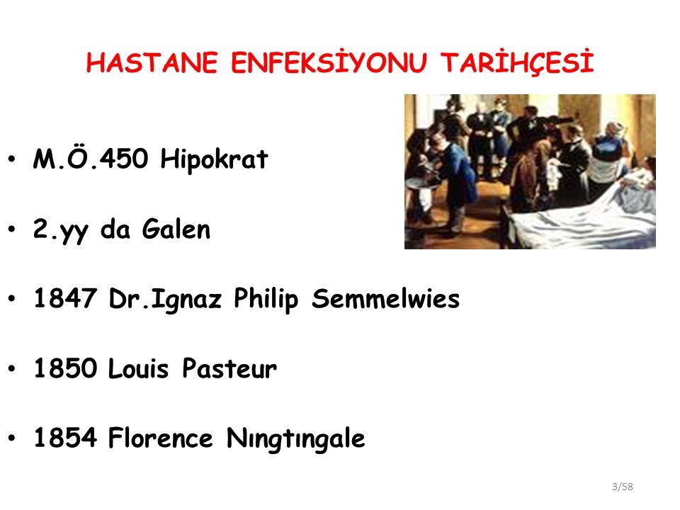 HASTANE ENFEKSİYONU TARİHÇESİ M.Ö.450 Hipokrat 2.yy da Galen 1847 Dr.Ignaz Philip Semmelwies 1850 Louis Pasteur 1854 Florence Nıngtıngale 3/58