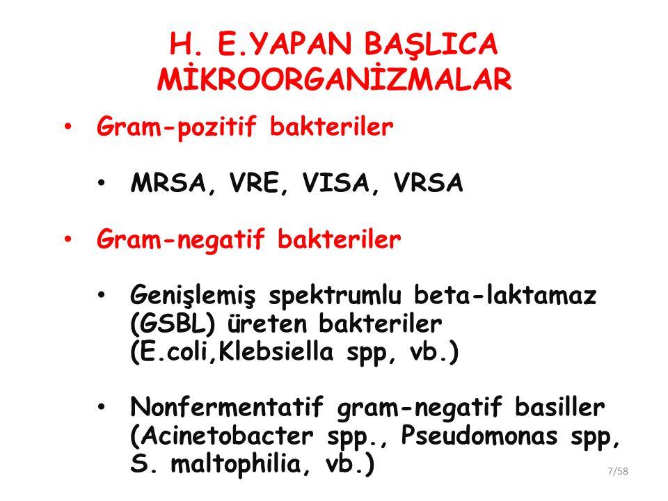 H. E.YAPAN BAŞLICA MİKROORGANİZMALAR Gram-pozitif bakteriler MRSA, VRE, VISA, VRSA Gram-negatif bakteriler Genişlemiş spektrumlu beta-laktamaz (GSBL)