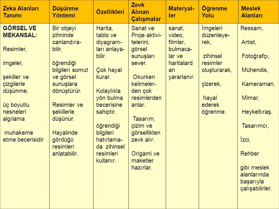 Zeka Alanları Tanımı Düşünme Yöntemi Özellikleri Zevk Alınan Çalışmalar Materyal- ler Öğrenme Yolu Meslek Alanları GÖRSEL VE MEKANSAL: Resimler, imgel