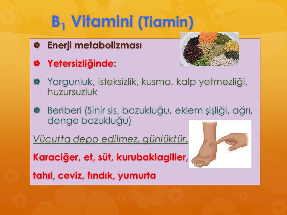 B 1 Vitamini (Tiamin)  Enerji metabolizması  Yetersizliğinde:  Yorgunluk, isteksizlik, kusma, kalp yetmezliği, huzursuzluk  Beriberi (Sinir sis. b