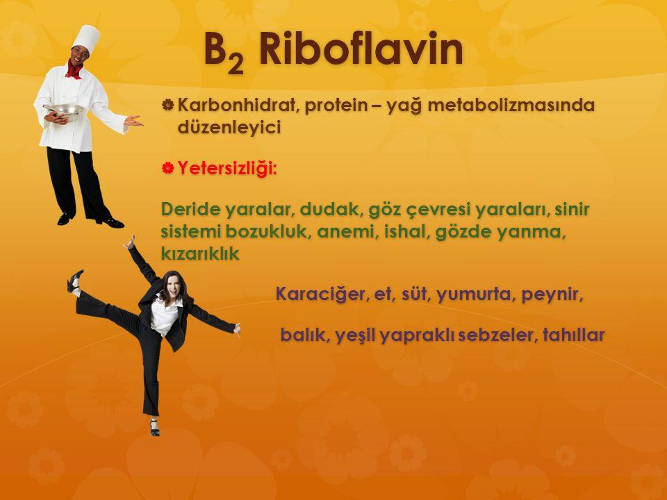 B 2 Riboflavin  Karbonhidrat, protein – yağ metabolizmasında düzenleyici  Yetersizliği: Deride yaralar, dudak, göz çevresi yaraları, sinir sistemi b