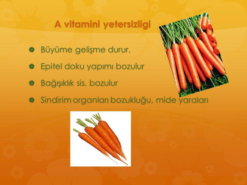 A vitamini yetersizligi  Büyüme gelişme durur.  Epitel doku yapımı bozulur  Bağışıklık sis. bozulur  Sindirim organları bozukluğu, mide yaraları