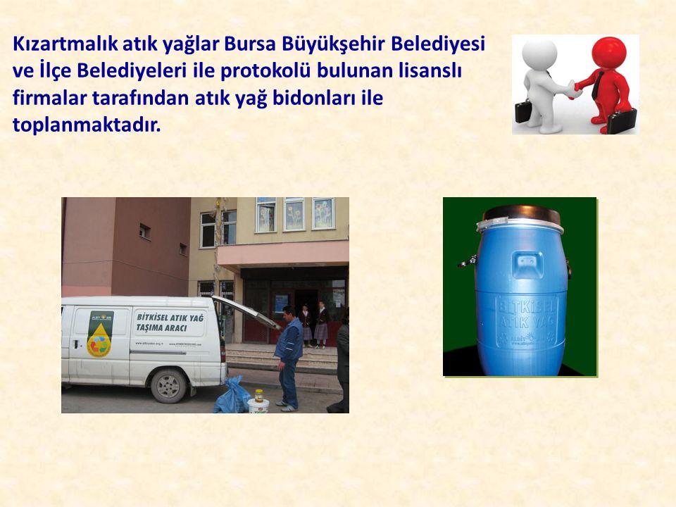 Kızartmalık atık yağlar Bursa Büyükşehir Belediyesi ve İlçe Belediyeleri ile protokolü bulunan lisanslı firmalar tarafından atık yağ bidonları ile top