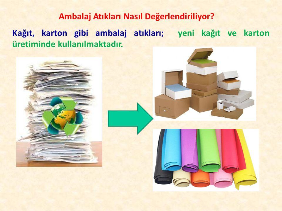 Ambalaj Atıkları Nasıl Değerlendiriliyor? Kağıt, karton gibi ambalaj atıkları; yeni kağıt ve karton üretiminde kullanılmaktadır.