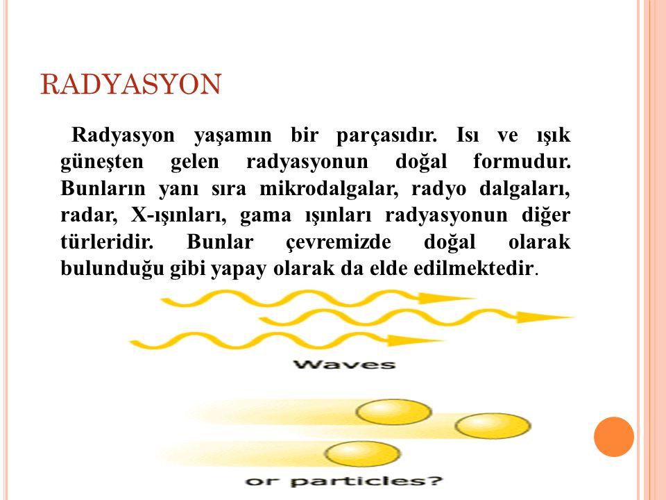 RADYASYON Radyasyon yaşamın bir parçasıdır. Isı ve ışık güneşten gelen radyasyonun doğal formudur. Bunların yanı sıra mikrodalgalar, radyo dalgaları,
