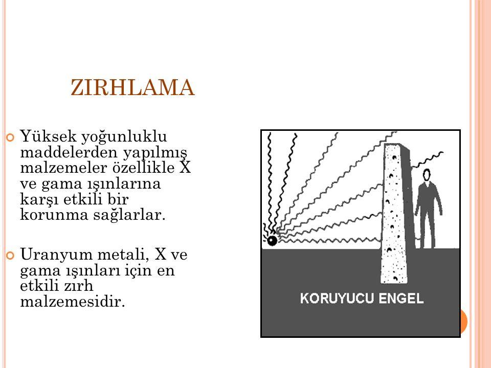 ZIRHLAMA Yüksek yoğunluklu maddelerden yapılmış malzemeler özellikle X ve gama ışınlarına karşı etkili bir korunma sağlarlar. Uranyum metali, X ve gam