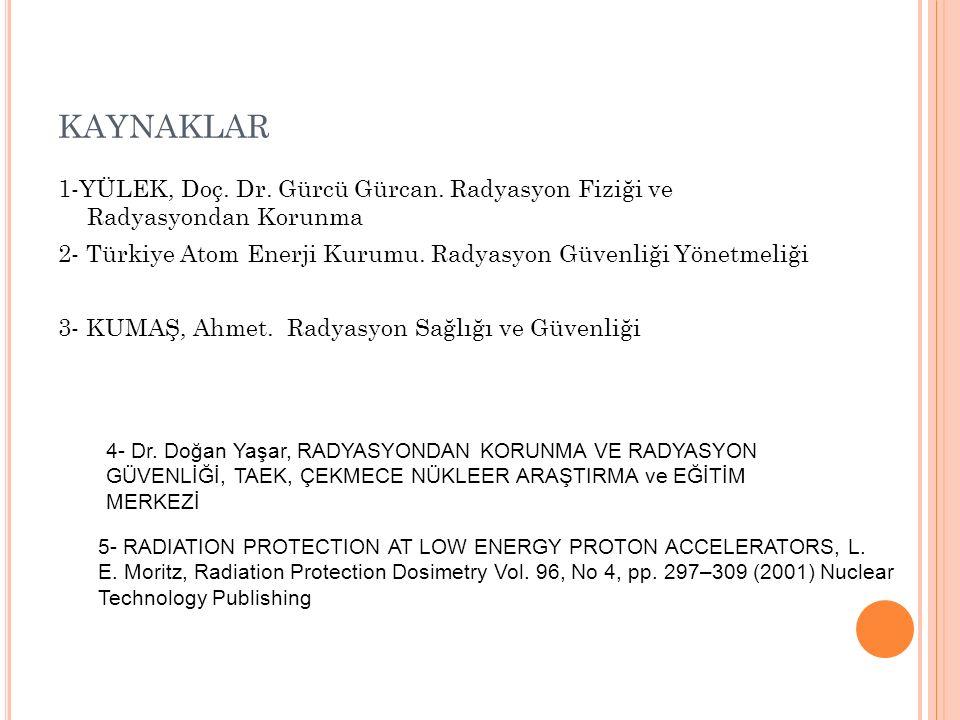 KAYNAKLAR 1-YÜLEK, Doç. Dr. Gürcü Gürcan. Radyasyon Fiziği ve Radyasyondan Korunma 2- Türkiye Atom Enerji Kurumu. Radyasyon Güvenliği Yönetmeliği 3- K