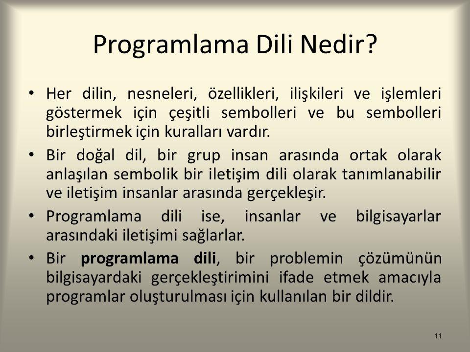 Programlama Dili Nedir? Her dilin, nesneleri, özellikleri, ilişkileri ve işlemleri göstermek için çeşitli sembolleri ve bu sembolleri birleştirmek içi