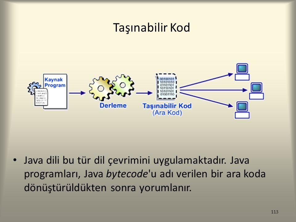 Taşınabilir Kod Java dili bu tür dil çevrimini uygulamaktadır. Java programları, Java bytecode'u adı verilen bir ara koda dönüştürüldükten sonra yorum