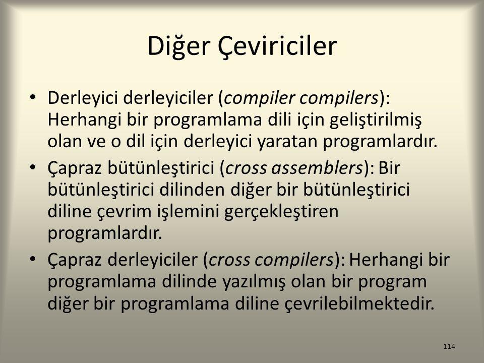 Diğer Çeviriciler Derleyici derleyiciler (compiler compilers): Herhangi bir programlama dili için geliştirilmiş olan ve o dil için derleyici yaratan p