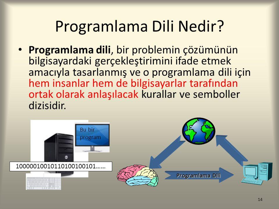Programlama Dili Nedir? Programlama dili, bir problemin çözümünün bilgisayardaki gerçekleştirimini ifade etmek amacıyla tasarlanmış ve o programlama d