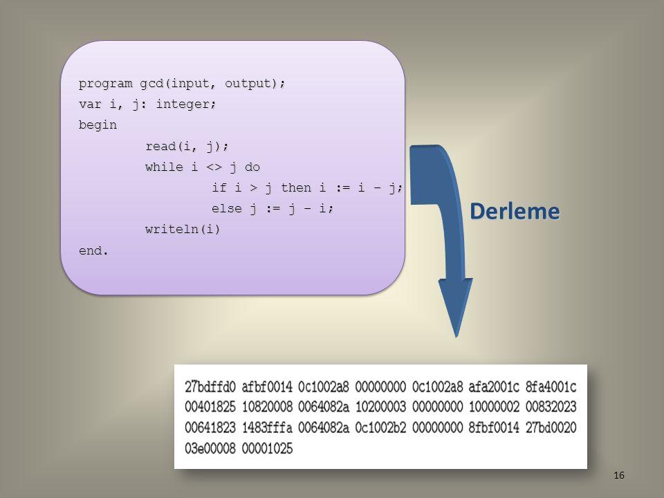 program gcd(input, output); var i, j: integer; begin read(i, j); while i <> j do if i > j then i := i – j; else j := j – i; writeln(i)end. program gcd