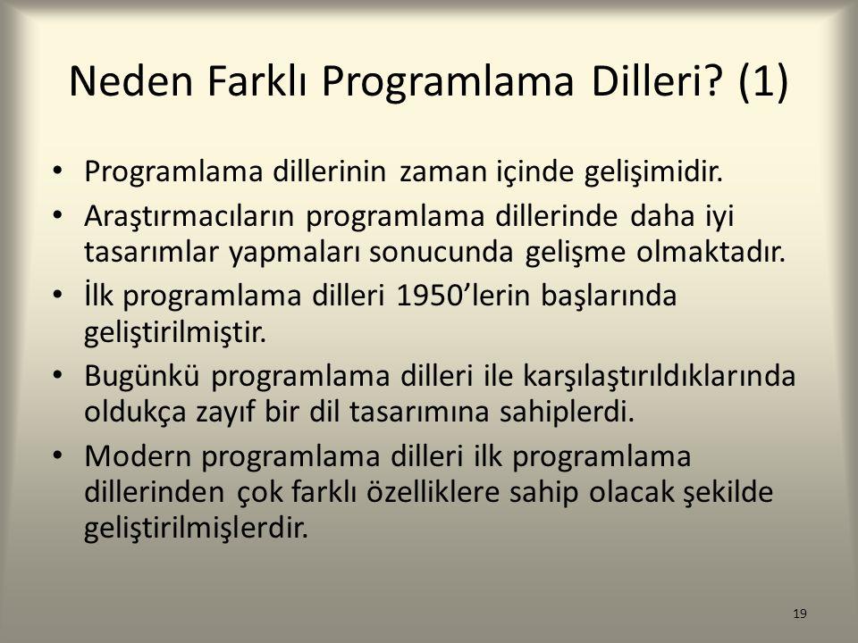 Neden Farklı Programlama Dilleri? (1) Programlama dillerinin zaman içinde gelişimidir. Araştırmacıların programlama dillerinde daha iyi tasarımlar yap