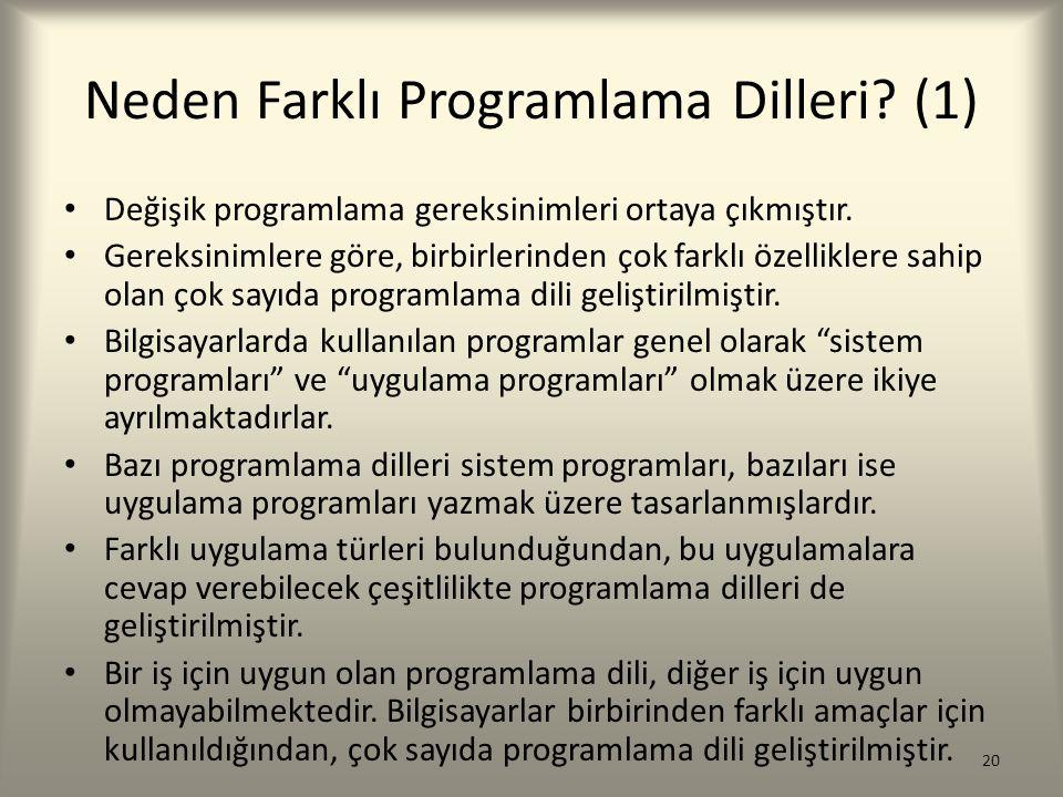 Neden Farklı Programlama Dilleri? (1) Değişik programlama gereksinimleri ortaya çıkmıştır. Gereksinimlere göre, birbirlerinden çok farklı özelliklere
