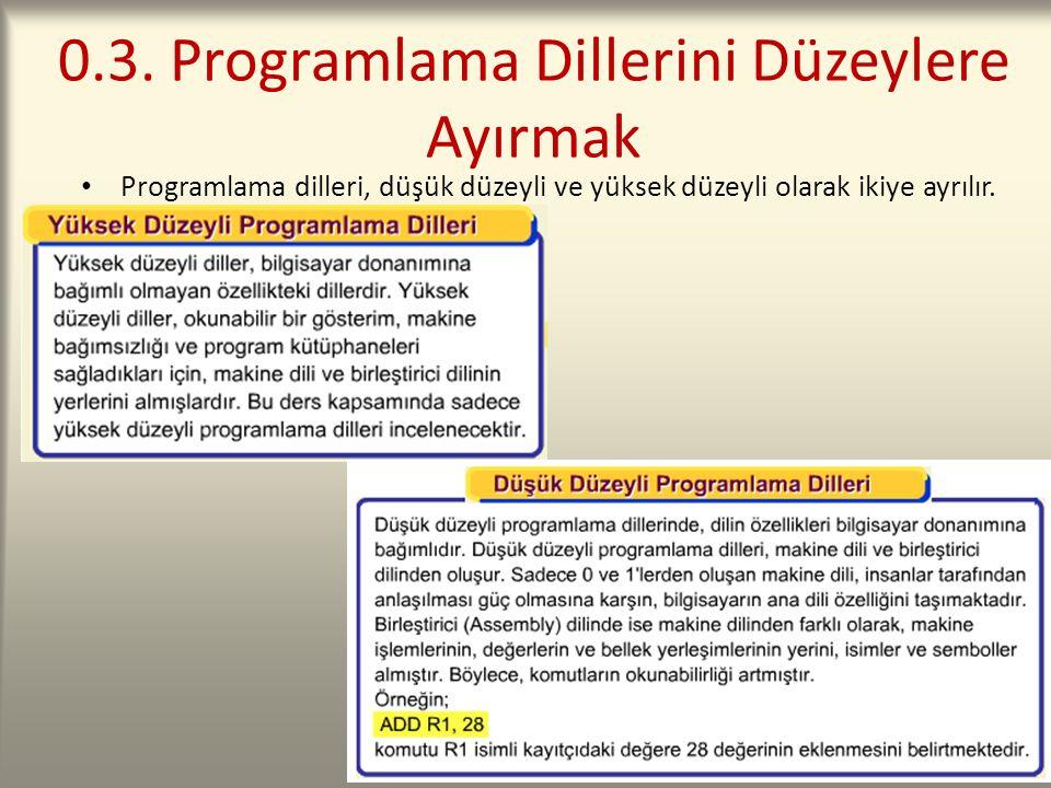 0.3. Programlama Dillerini Düzeylere Ayırmak Programlama dilleri, düşük düzeyli ve yüksek düzeyli olarak ikiye ayrılır.