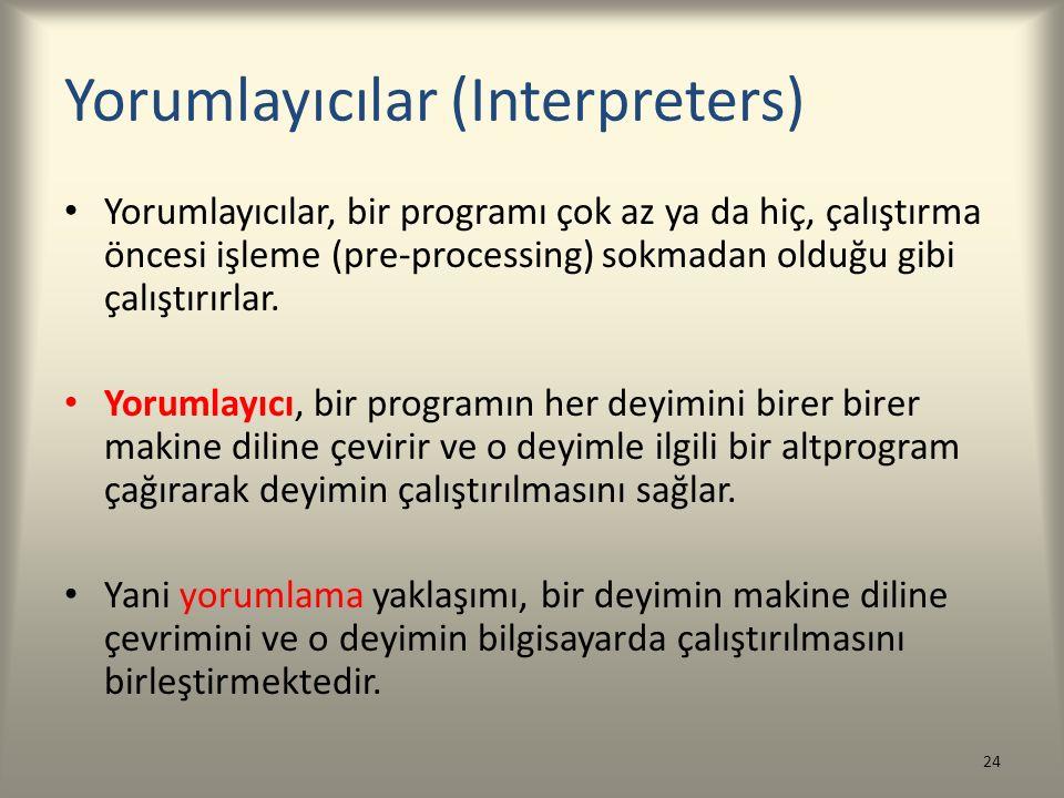Yorumlayıcılar (Interpreters) Yorumlayıcılar, bir programı çok az ya da hiç, çalıştırma öncesi işleme (pre-processing) sokmadan olduğu gibi çalıştırır