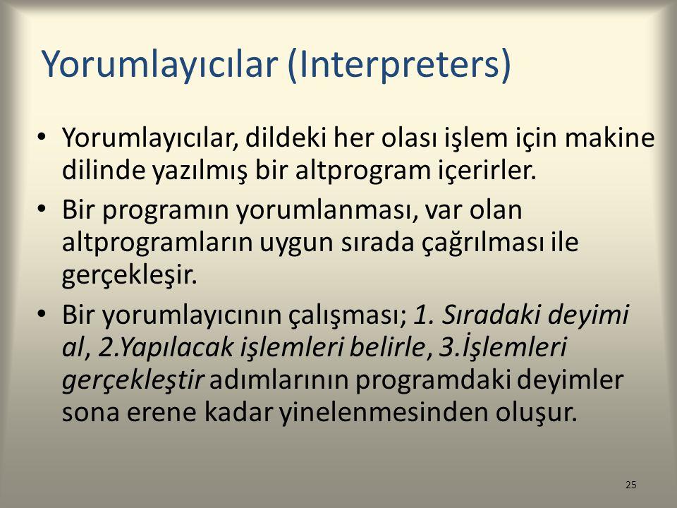 Yorumlayıcılar (Interpreters) Yorumlayıcılar, dildeki her olası işlem için makine dilinde yazılmış bir altprogram içerirler. Bir programın yorumlanmas