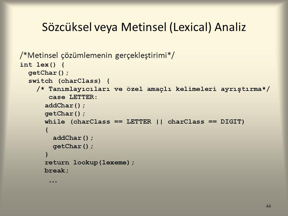 Sözcüksel veya Metinsel (Lexical) Analiz /*Metinsel çözümlemenin gerçekleştirimi*/ int lex() { getChar(); switch (charClass) { /* Tanımlayıcıları ve ö
