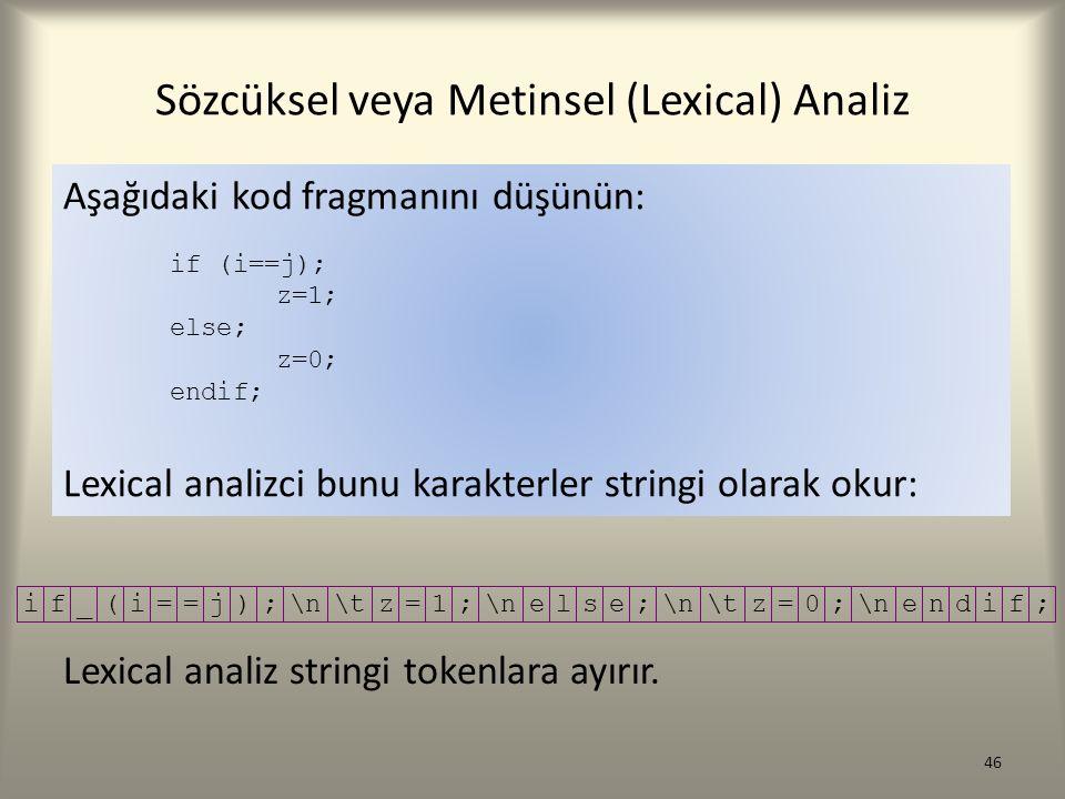 46 Aşağıdaki kod fragmanını düşünün: if (i==j); z=1; else; z=0; endif; Lexical analizci bunu karakterler stringi olarak okur: if_(i==j);\n\tz=1; \nels