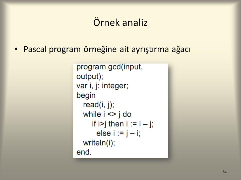 Örnek analiz Pascal program örneğine ait ayrıştırma ağacı 64