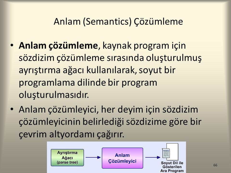 Anlam (Semantics) Çözümleme Anlam çözümleme, kaynak program için sözdizim çözümleme sırasında oluşturulmuş ayrıştırma ağacı kullanılarak, soyut bir pr