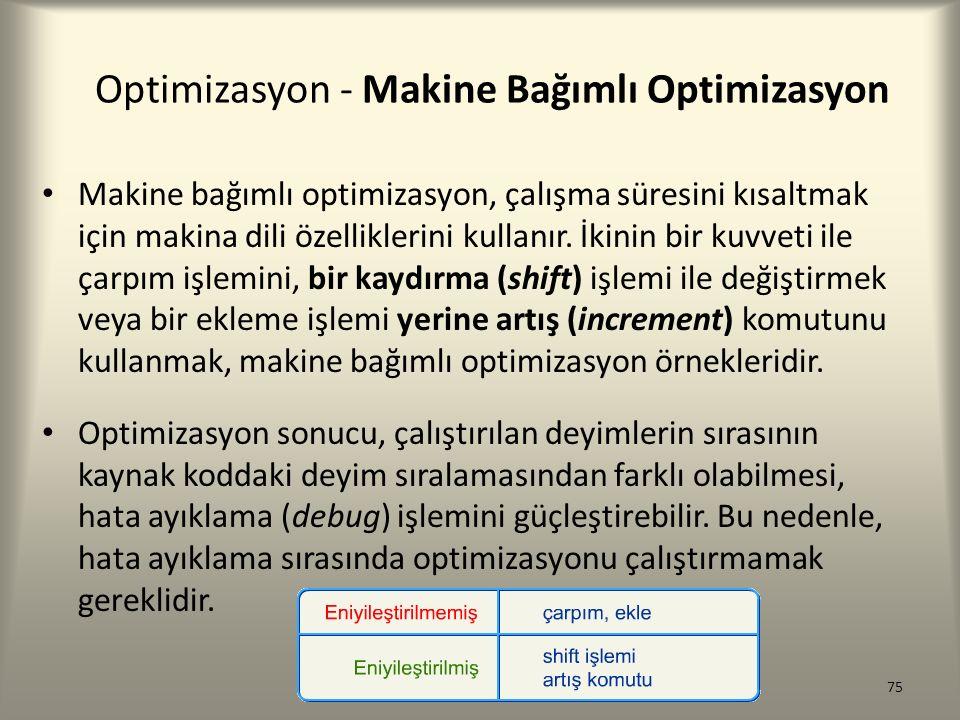 Optimizasyon - Makine Bağımlı Optimizasyon Makine bağımlı optimizasyon, çalışma süresini kısaltmak için makina dili özelliklerini kullanır. İkinin bir