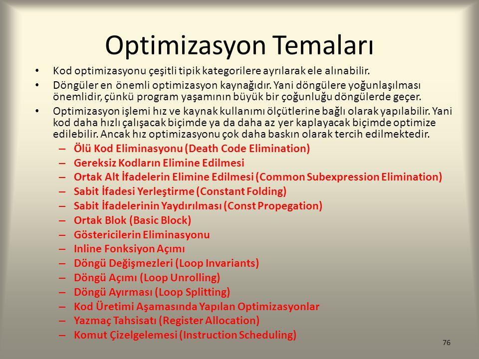 Optimizasyon Temaları Kod optimizasyonu çeşitli tipik kategorilere ayrılarak ele alınabilir. Döngüler en önemli optimizasyon kaynağıdır. Yani döngüler