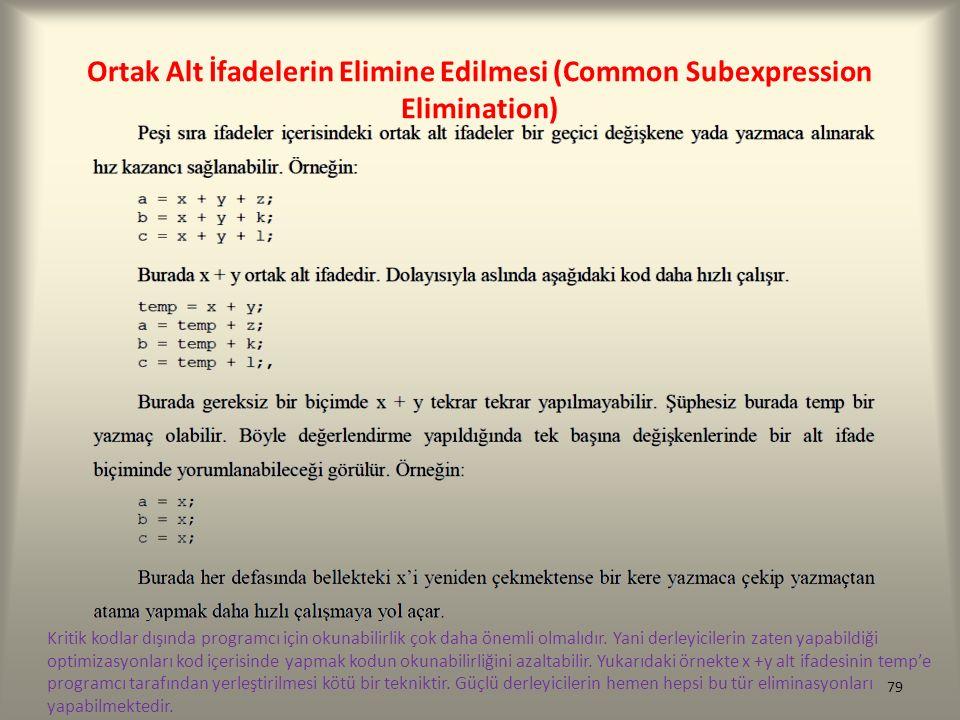 Ortak Alt İfadelerin Elimine Edilmesi (Common Subexpression Elimination) Kritik kodlar dışında programcı için okunabilirlik çok daha önemli olmalıdır.