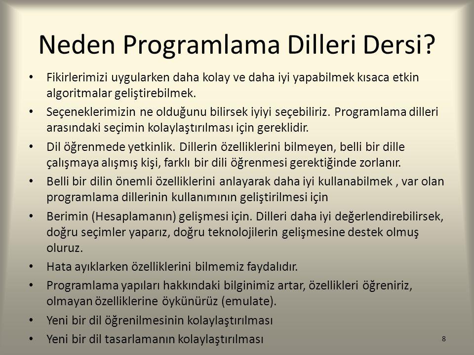 Neden Farklı Programlama Dilleri.(1) Programlama dillerinin zaman içinde gelişimidir.