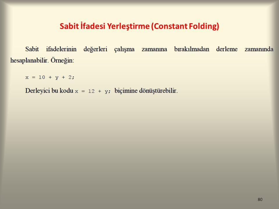 Sabit İfadesi Yerleştirme (Constant Folding) 80