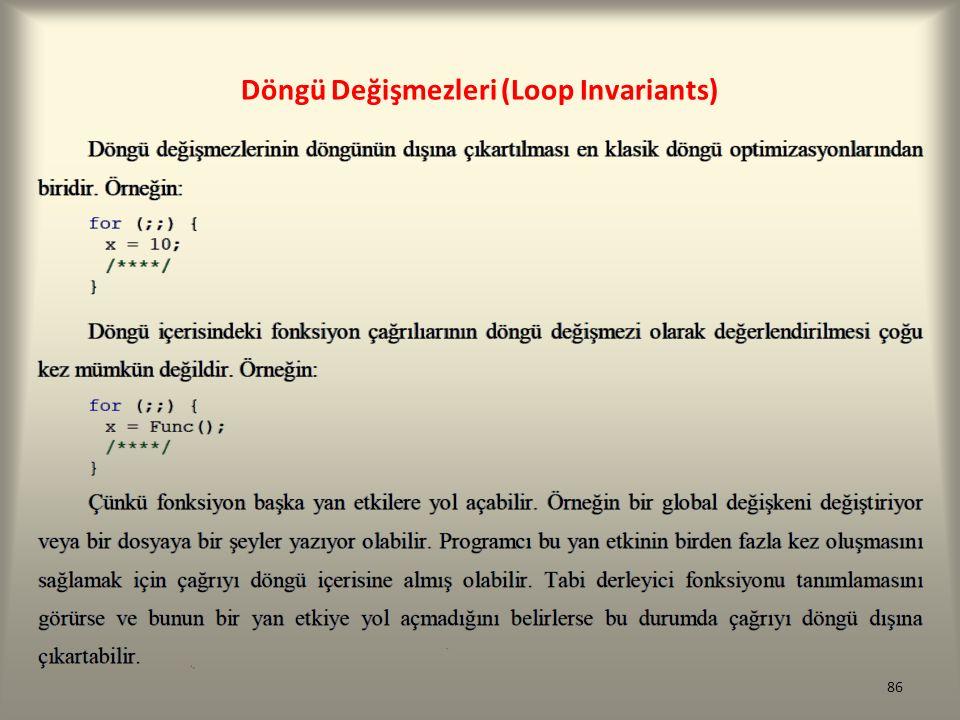 Döngü Değişmezleri (Loop Invariants) 86
