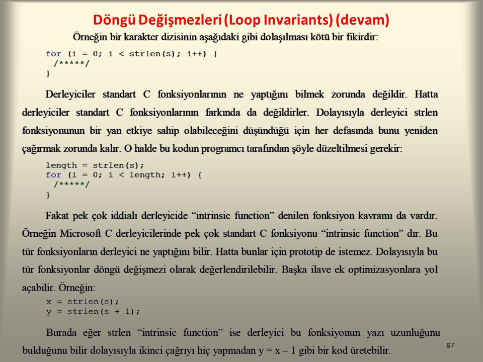 Döngü Değişmezleri (Loop Invariants) (devam) 87
