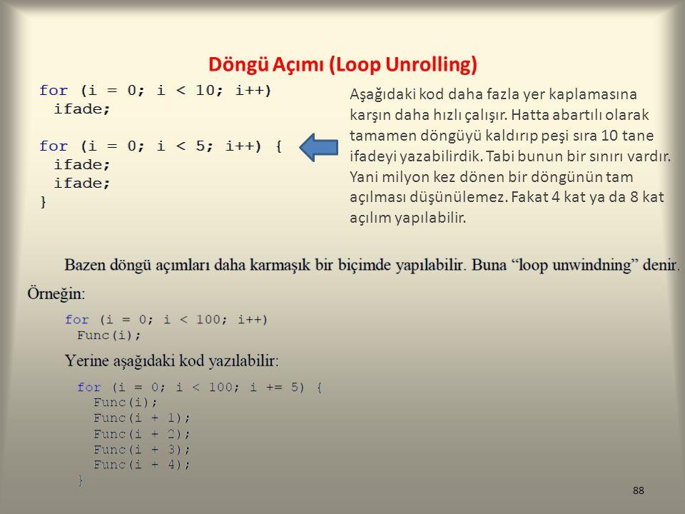 Döngü Açımı (Loop Unrolling) Aşağıdaki kod daha fazla yer kaplamasına karşın daha hızlı çalışır. Hatta abartılı olarak tamamen döngüyü kaldırıp peşi s