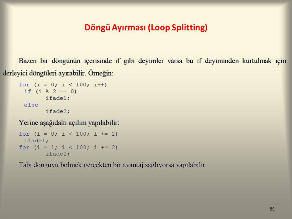 Döngü Ayırması (Loop Splitting) 89