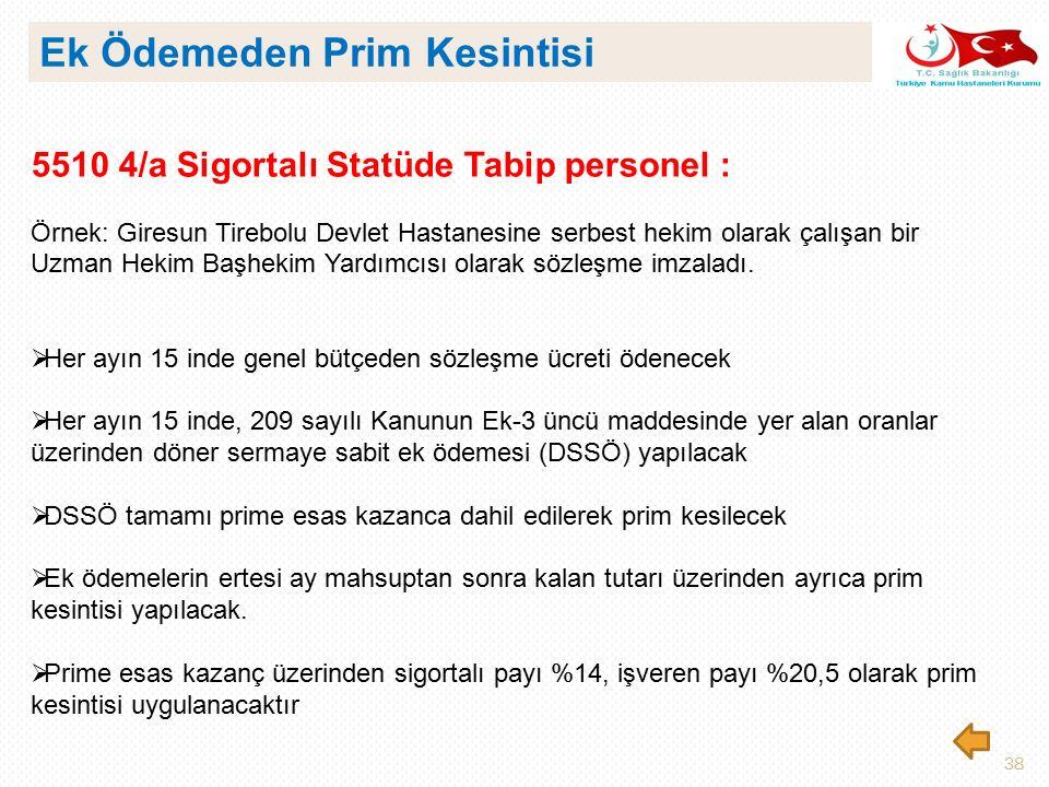 38 5510 4/a Sigortalı Statüde Tabip personel : Örnek: Giresun Tirebolu Devlet Hastanesine serbest hekim olarak çalışan bir Uzman Hekim Başhekim Yardım
