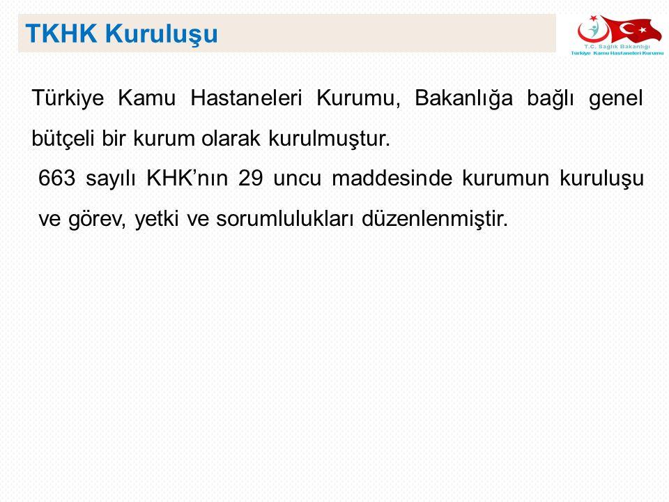 Türkiye Kamu Hastaneleri Kurumu, Bakanlığa bağlı genel bütçeli bir kurum olarak kurulmuştur. 663 sayılı KHK'nın 29 uncu maddesinde kurumun kuruluşu ve