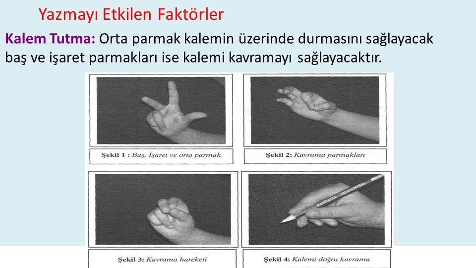. Kalem Tutma: Orta parmak kalemin üzerinde durmasını sağlayacak baş ve işaret parmakları ise kalemi kavramayı sağlayacaktır. Yazmayı Etkilen Faktörle