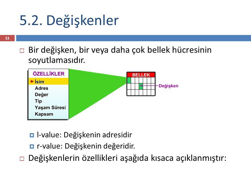5.2. Değişkenler  Bir değişken, bir veya daha çok bellek hücresinin soyutlamasıdır.  l-value: Değişkenin adresidir  r-value: Değişkenin değeridir.