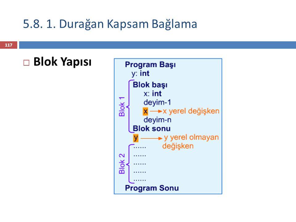 İç içe yuvalanmış statik kapsam örneği 118 class MyClass { int myVar1 = 100, myVar2 = 200; void myMethod1() { System.out.println(myVar1); { int myVar1 = 200; System.out.println(myVar1); System.out.println(this.myVar1); } System.out.println(myVar1); } class InnerClass { int myVar1 = 300; void myMethod2() { System.out.println(myVar1); System.out.println(myVar2); System.out.println(MyClass.this.myVar1); } myVar1 ve myVar2 kapsamı Lokal değişken myVar1'in kapsamı Lokal değişken myVar1'i tanımlamak için bir blok myVar2 bu blokta lokal- olmayan bir değişkendir InnerClass, myVar2 'nin statik parent'ıdırInnerClass, myVar2 'nin statik parent'ıdır MyClass, myVar2'nin statik dedesidir (ancestor)MyClass, myVar2'nin statik dedesidir (ancestor) Gizli değişken myVar1'e ulaşma