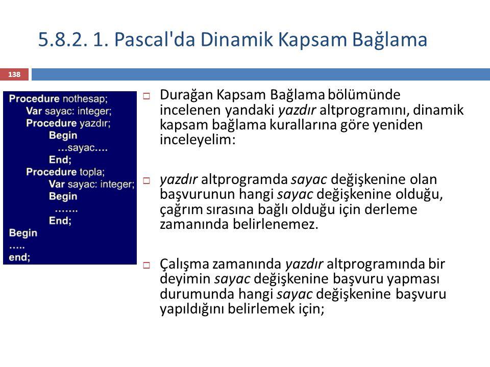 5.8.2.1. Pascal da Dinamik Kapsam Bağlama 1) Öncelikle yerel tanımlamalar aranmaya başlanır.