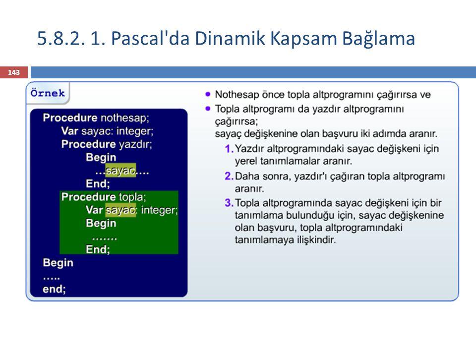 5.8.2. 1. Pascal da Dinamik Kapsam Bağlama 144
