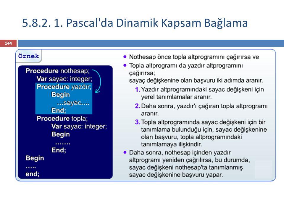Statik isim kapsamDinamik Kapsam Değişkenlerin kapsamları, programın metinsel düzenine göre, fiziksel yakınlığa göre, belirlenir.