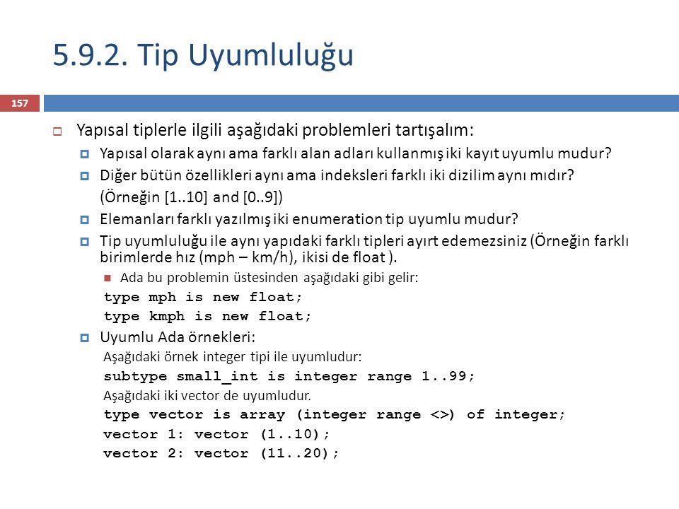 158  Dil örnekleri:  Pascal: genellikle yapısal tip uyumluluğu, fakat bazı durumlarda isim uyumluluğu da kullanılır (alt program parametrelerinde).