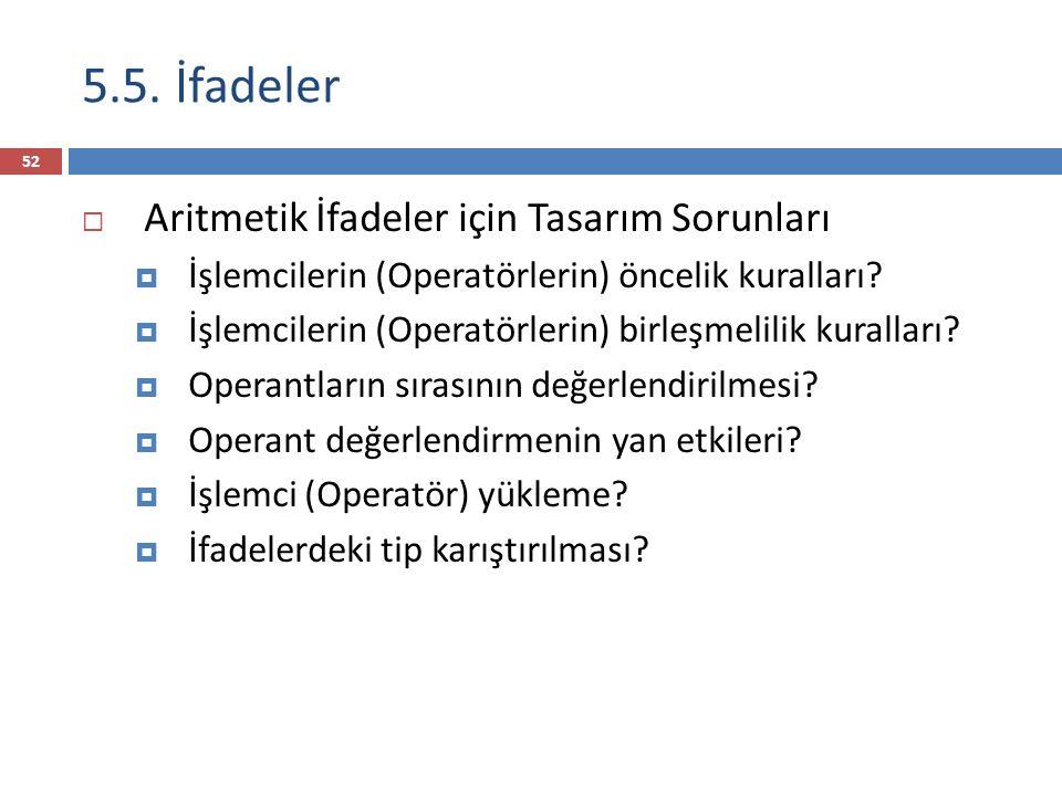 5.5. İfadeler  Aritmetik İfadeler için Tasarım Sorunları  İşlemcilerin (Operatörlerin) öncelik kuralları?  İşlemcilerin (Operatörlerin) birleşmelil