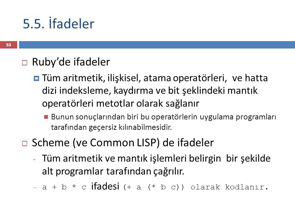 5.5. İfadeler  Ruby'de ifadeler  Tüm aritmetik, ilişkisel, atama operatörleri, ve hatta dizi indeksleme, kaydırma ve bit şeklindeki mantık operatörl