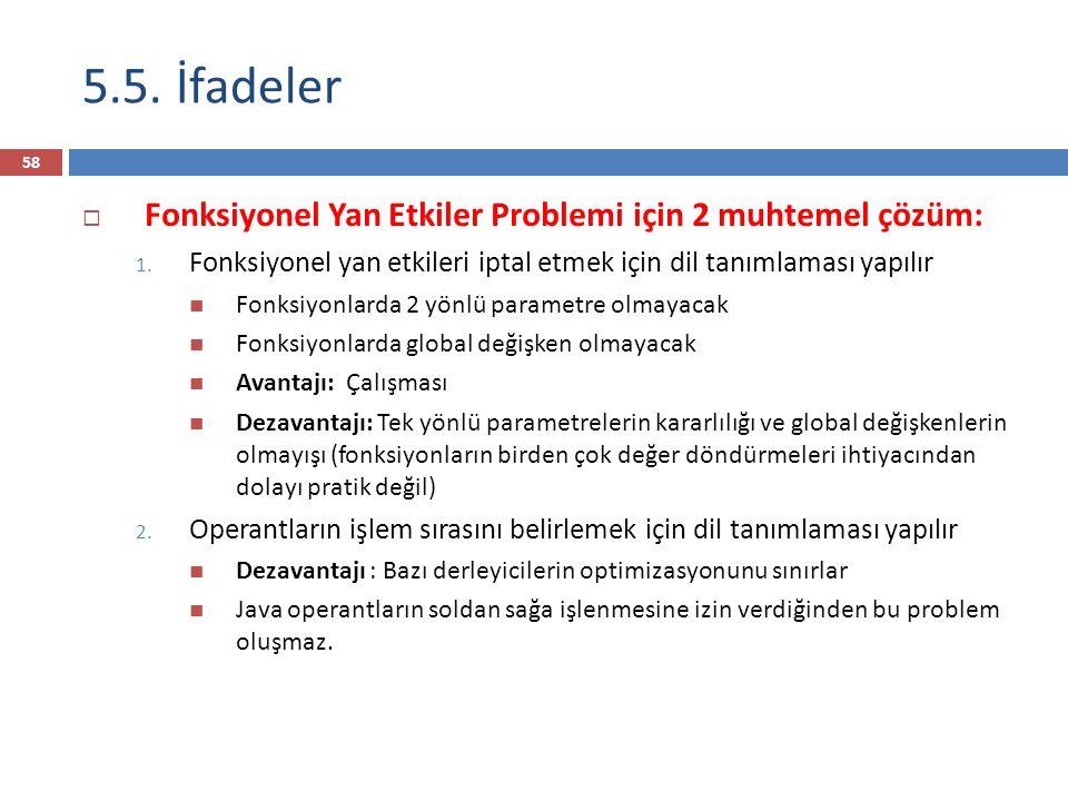 5.5. İfadeler  Fonksiyonel Yan Etkiler Problemi için 2 muhtemel çözüm: 1. Fonksiyonel yan etkileri iptal etmek için dil tanımlaması yapılır Fonksiyon